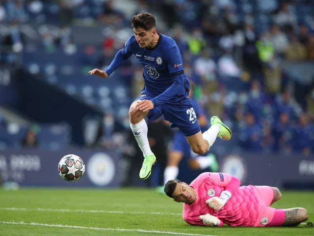 Chelsea's Kai Havertz scores their first goal against Manchester City in the Champions League final on May 29, 2021