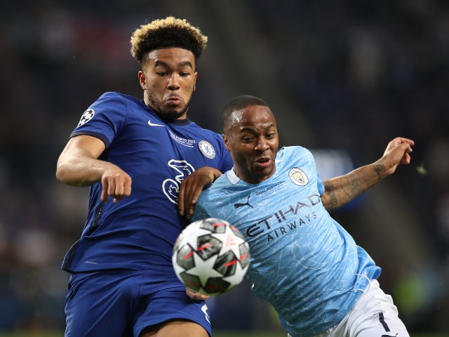 Manchester City's Raheem Sterling in action with Chelsea's Reece James in the Champions League final on May 29, 2021