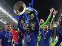 Chelsea midfielder N'Golo Kante lifts the Champions League trophy on May 29, 2021