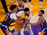 Los Angeles Lakers forward Anthony Davis is surrounded against the Phoenix Suns on May 28, 2021