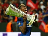 Paul Pogba celebrates with the Europa League in May 2017