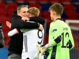 Germany under-21s manager Stefan Kuntz with Jonathan Burkhardt on March 27, 2021