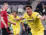 Villarreal's Gerard Moreno celebrates scoring against Manchester United in the Europa League final on May 26, 2021
