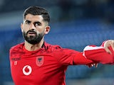 Elseid Hysaj in action for Albania in March 2021