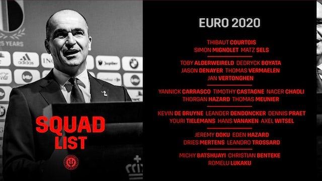 Belgium squad for Euro 2020