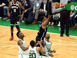 Brooklyn Nets forward Bruce Brown dunks and scores against the Boston Celtics on May 31, 2021
