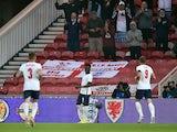 England's Bukayo Saka celebrates scoring against Austria on June 2, 2021