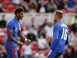 England's Marcus Rashford celebrates scoring against Romania on June 6, 2021