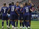 France's Ousmane Dembele celebrates scoring against Wales on June 2, 2021