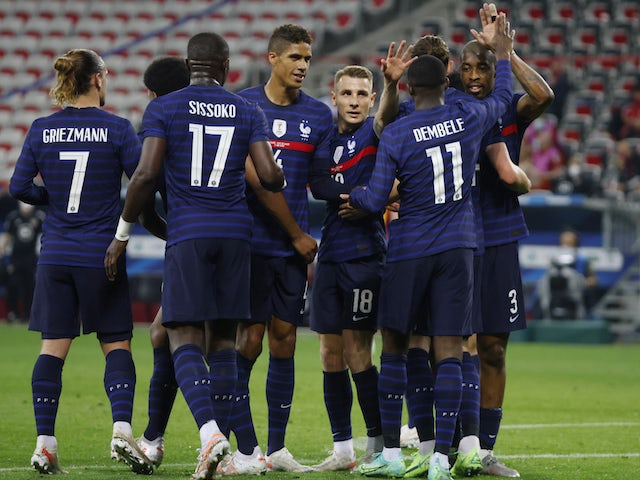 France's Ousmane Dembele will celebrate his goal against Wales on June 2, 2021