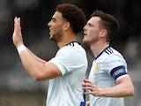 Scotland's Che Adams celebrates scoring against Luxembourg on June 6, 2021