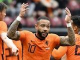 Memphis Depay celebrates scoring for Netherlands on June 6, 2021