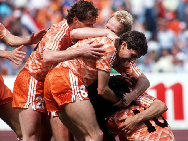 The Netherlands celebrate scoring in the Euro 1988 final against the Soviet Union on June 25, 1988