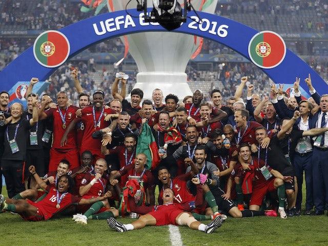 Portugal players celebrate winning Euro 2016 on July 10, 2016