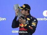 Red Bull's Sergio Perez celebrates winning the Azerbaijan Grand Prix on June 6, 2021