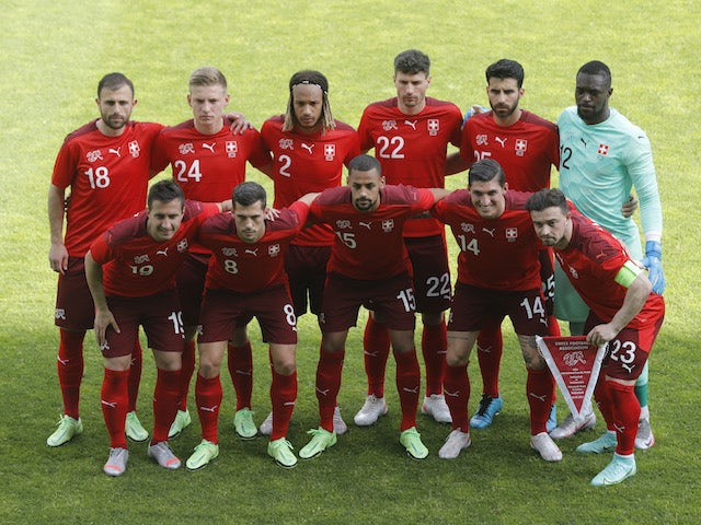 Switzerland players pose for a team group photo before the match on June 3, 2021