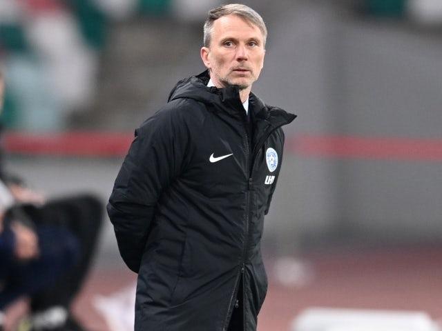 Igaunijas treneris Tomass Hāberlijs mača laikā 2021. gada 27. martā