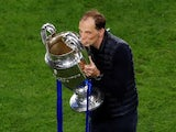 Chelsea manager Thomas Tuchel celebrates with the Champions League trophy on May 29, 2021