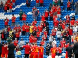 Wales fans applaud the players and coaching staff after the match against Albania on June 5, 2021
