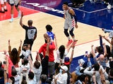 Washington Wizards forward Rui Hachimura reacts after making a three point shot in the second half against the Philadelphia 76ers on June 1, 2021