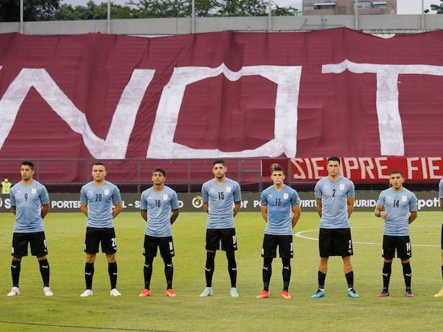 Uruguay players line up on June 8, 2021