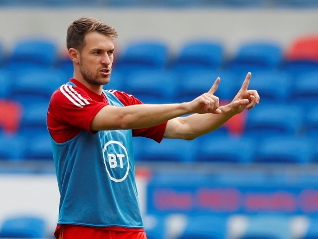 Wales' Aaron Ramsey during the warm up on June 5, 2021