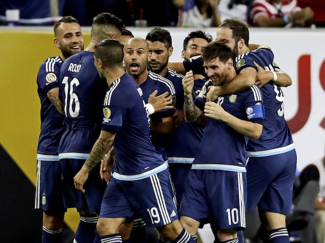 rgentina midfielder Lionel Messi (10) celebrates with teammates after scoring during the first half against the United States in the semifinals of the 2016 Copa America Centenario soccer tournament at NRG Stadium