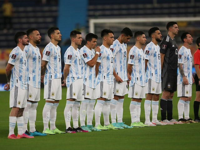 Argentina line up during the national anthems before the match on June 8, 2021