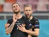 Austria's Marko Arnautovic celebrates scoring against North Macedonia at Euro 2020 on June 13, 2021