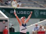 Czech Republic's Barbora Krejcikova celebrates after winning the final match against Russia's Anastasia Pavlyuchenkova at the French Open on June 12, 2021