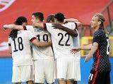Belgium's Romelu Lukaku celebrates scoring their first goal with teammates on June 6, 2021