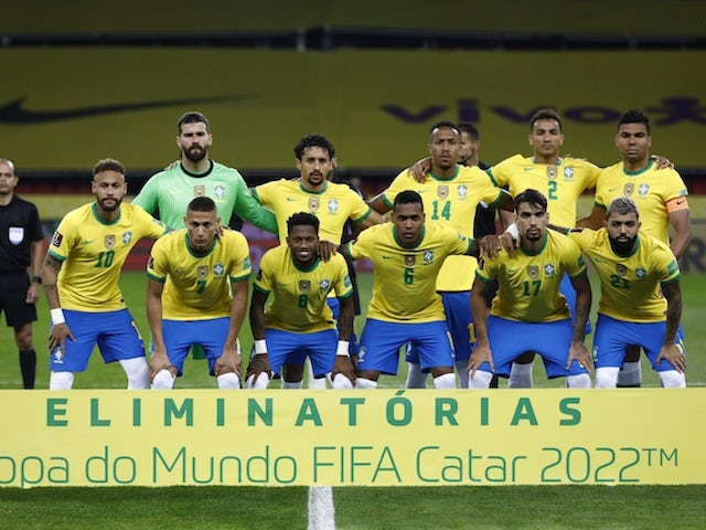 Brazil players pose for a photo on June 5, 2021