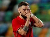 Portugal's Bruno Fernandes celebrates scoring their fourth goal on June 9, 2021