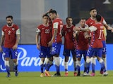 Chile's Alexis Sanchez celebrates scoring their first goal with teammates on June 4, 2021