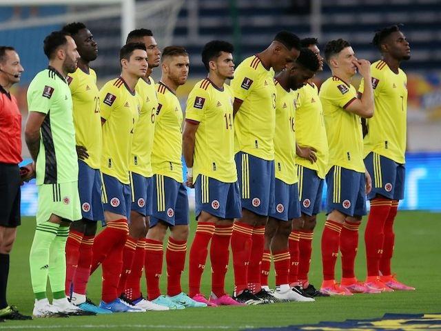 Jugadores colombianos se alinean el 8 de junio de 2021