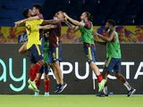 Colombia's Miguel Borja celebrates scoring their second goal with teammates on June 8, 2021