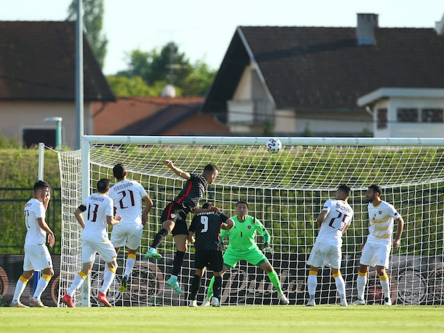 Croatia's Ivan Perisic scores their first goal on June 1, 2021