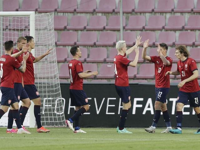 Czech Republic's Patrik Schick celebrates scoring their first goal with Jakub Jankto on June 8, 2021