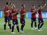 Czech Republic players applaud the fans following the final Euro 2020 warm-up game on June 8, 2021