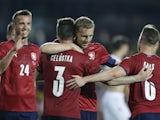 Czech Republic's Ondrej Celustka celebrates scoring their third goal with Tomas Soucek on June 8, 2021