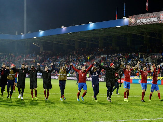 Czech Republic players celebrate qualifying for Euro 2020 in November 2019
