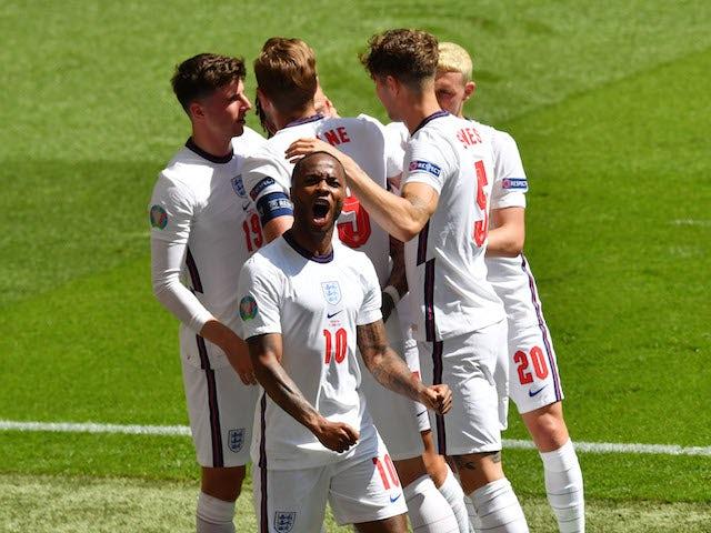 England's Raheem Sterling celebrates scoring against Croatia at Euro 2020 on June 13, 2021