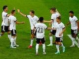 Germany players celebrate scoring against Latvia on June 7, 2021