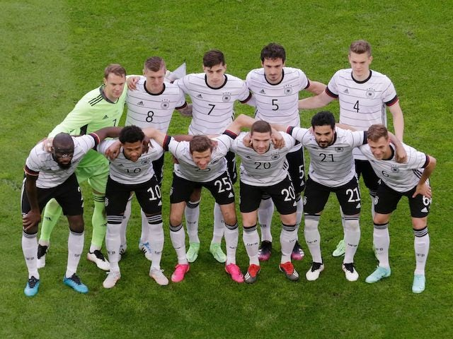 Germany players pose for a team group photo before the game on June 7, 2021