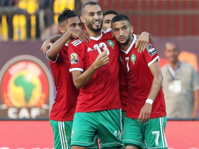 Morocco's Khalid Boutaib and Hakim Ziyech and team mates celebrate pictured on June 23, 2019
