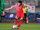 South Korea's Heung-Min Son shoots at goal on June 5, 2021
