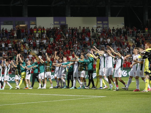 Hungary players salute their fans after their final Euro 2020 warm-up game on June 8, 2021