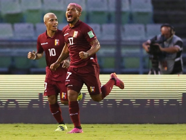 Venezuela's Josef Martinez celebrates scoring their first goal with Otero later disallowed after a VAR review on June 8, 2021