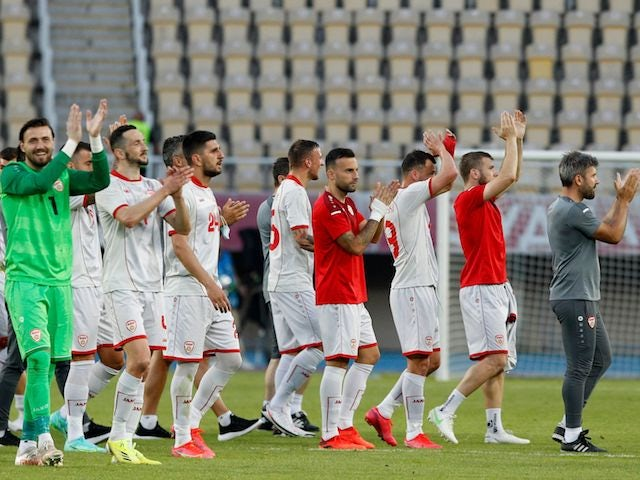 Macedonia's players celebrates after winning their game against Kazakhstan on June 4, 2021