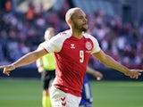 Denmark's Martin Braithwaite celebrates scoring their first goal against Bosnia on June 6, 2021